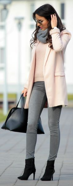Gray chunky scarf, pink sweater, pink coat, gray skinny jeans and black booties http://WeeklyYouthPay.com/?ref=463326
