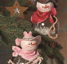 Western Snow Couple Christmas Ornaments