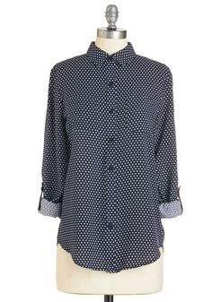 Long As I Dot You Top. Rely on the timeless sophistication of this polka-dotted blouse to complement any look! #blue #modcloth