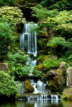 peaceful waterfalls in Portland Japanese Gardens, Oregon