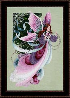 """""""Fairy Dreams"""" is the title of this cross stitch design from Lavender and Lace and is stitched with DMC floss"""