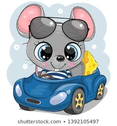 Cartoon Mouse with cheese in glasses goes on a Blue car. Cute Cartoon Mouse with cheese in glasses goes on a Blue car royalty free illustration Cartoon Cartoon, Kids Cartoon Characters, Cute Cartoon Girl, Illustration Mignonne, Cute Illustration, Cartoon Mignon, Airplane Drawing, Halloween Cartoons, Cute Dragons