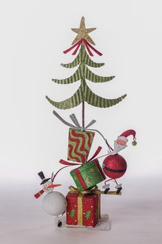 Metallic Santa/Snowman Tree