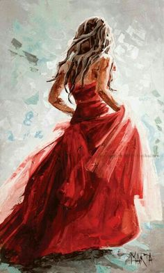 Painting by Maria, lady in a red dress. So very pretty. #OilPaintingLove