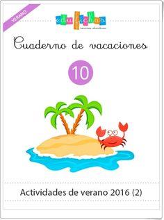 """""""Cuaderno de vacaciones de verano 10 para Educación Infantil"""" (Edufichas) Ocean Life, Activities, Kids, Teaching Supplies, Texts, Home, Toddler Travel Activities, Toddler Travel, Preschool Labels"""