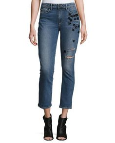 TDF6R Paige Denim Jacqueline Star-Appliqué Cropped Straight-Leg Jeans, Jupiter Embellished