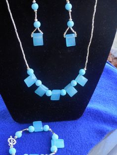 3pc water and silver necklace set by CJhandmadeJewelry on Etsy