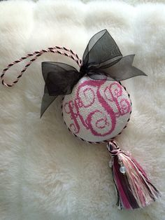 Needlepoint monogram door ornament with tassel, this was so fun to finish!