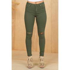 Olive Slit Knee Skinny Jeans ($68) ❤ liked on Polyvore featuring jeans, beige jeans, cut skinny jeans, army green jeans, olive skinny jeans and beige skinny jeans