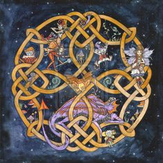 """Celtic knots for """"balance"""". The cross reflects each of the four elements. I love the whimsical creatures throughout."""