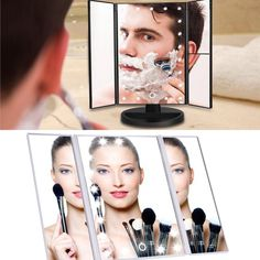 Look good all summer with this portable LED light mirror! Great for traveling as well! Office Gadgets, Cool Tech Gadgets, Gadgets And Gizmos, Latest Gadgets, Portable Led Lights, Led Makeup Mirror, Mirror With Lights, Traveling, Summer