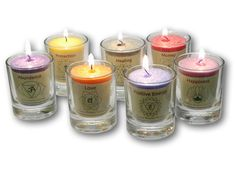New! all 7 Chakra Votive candle Set with Glass holders