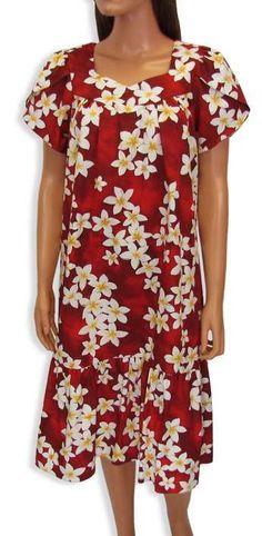 2bc862c3 Short Red Cotton Muumuu Dress Island Plumeria. MuumuuLilo And StitchFloral  TopsCotton FabricWomen ...