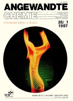 """1987 - The cover picture shows the interference pattern obtained with a laser interferometer with a synchronoulsy superposed image of a """"dancing flame"""". Laser light was used to reproduce very rapidly changing structures in a flame continuously. ... More details on the use of the use of lasers in chemistry, materials research and medicine are reported in an article by J. Wolfrum and K. Kleinermanns http://doi.org/cfw443 (Photograph: A. Schönbucher, Stuttgart (FRG))."""