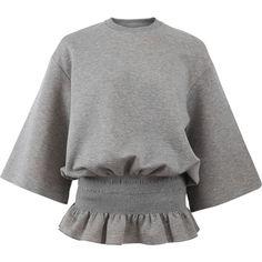 Stella Mccartney Elastic Waist Sweatshirt (€540) ❤ liked on Polyvore featuring tops, hoodies, sweatshirts, cotton pullover sweatshirt, grey pullover sweatshirt, elastic waist tops, cotton sweatshirts and cotton pullovers