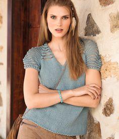 Пуловер с короткими рукавами с кокеткой в полоску