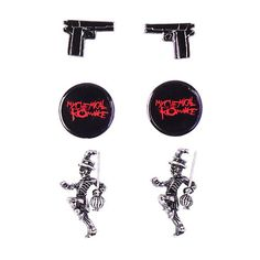 My Chemical Romance 3 Pair Earring Set Hot Topic ($8.40) ❤ liked on Polyvore featuring jewelry, earrings, metal jewelry, metal earrings and earrings jewelry