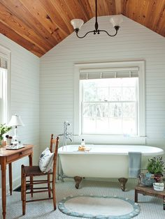 wood plank ceiling + white plank walls