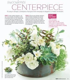 succulents centerpiece- OMG I love this! Succulent Wedding Centerpieces, Rustic Centerpieces, Succulent Arrangements, Wedding Flower Arrangements, Succulents Garden, Floral Arrangements, Centrepiece Ideas, Centrepieces, Flowers To Go
