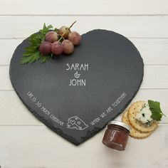 Personalised Life is so much Cheddar Heart Slate Cheese Board - Giftpup 5th Wedding Anniversary Gift, Unique Anniversary Gifts, Cheesy Puns, Slate Cheese Board, Personalized Valentine's Day Gifts, Cheese Lover, Valentine Day Gifts, Valentines, Couple Gifts
