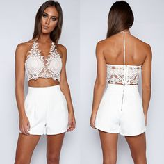 JeVenis Women's Halter Neck Tank Gold Crop Top Sleeveless Lace Vest Embroidered Bustier Top by JeVenis $15.99 - $16.99