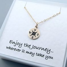 Gold Compass Necklace, Graduation gift, Enjoy the Journey, Travel jewelry, Good…