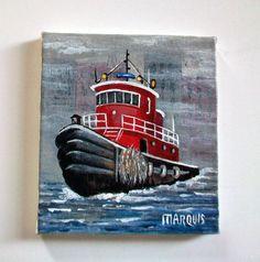 Miniature Tug Boat Painting