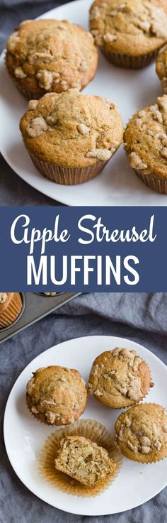 Apple Streusel Muffins are light and tender, topped with a crumb topping, and great for a grab-and-go breakfast.--recipe on bakedbyanintrovert.com #muffins #apple #breakfast