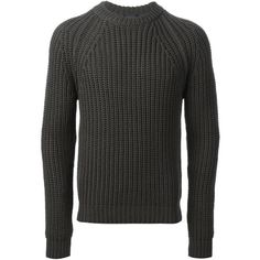 Grey merino ribbed sweater from Lanvin featuring a round neck, long sleeves and a jersey knit.