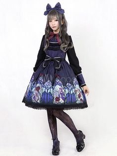 9ee5096001 Gothic Lolita OP One Piece Dress Turndown Collar Puff Sleeve Bows Printed  Purple Lolita Dress #