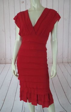 Sophie Max Dress M Red Poly Rayon Spandex Fine sweater Knit Pullover Tiers RUMBA #SophieMax #StretchKnitSheathTiered