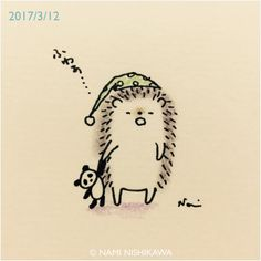 "2,234 mentions J'aime, 8 commentaires - なみはりねずみ (@namiharinezumi) sur Instagram : ""1144 もう寝るの  I go to bed. #illustration #hedgehog #イラスト #ハリネズミ #なみはりねずみ #illustagram"""