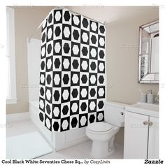 Cool Black White Seventies Chess Squares Pattern Shower Curtain. Ornate, elegant and funky hipster motif for the artistic interior designer, the artsy popular hip trendsetter, vintage mod retro, nouveau deco art style or abstract graphic digital geometric motif lover. Original, modern and whimsical decor accent.