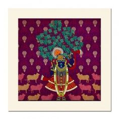 Divine Harmony Mounted Wall Art : Lord Krishna's everlasting love for the flora and fauna of his kingdom. All the Art comes signed by Krsna Mehta mounted.
