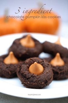 Recipe For Chocolate Pumpkin Kiss Cookies - I wanted something easy and fast and these hit the spot just right! So so good! I absolutely LOVE them with the pumpkin kisses!