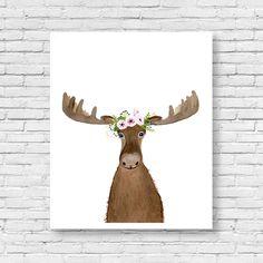 Watercolor moose, elk painting, Animal Paintings, Fox, Bear, moose, robin, Woodland decor, Childrens Decor, Kids Art , woodland nursery by zuhalkanar on Etsy https://www.etsy.com/listing/397956705/watercolor-moose-elk-painting-animal