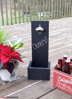 Fire up your can-do attitude with these DIY garden wood projects! Woodworking seems like a difficult challenge, but check out Cheers, Wall Mounted Bottle Opener, Navidad Diy, Diy Wood Projects, Outdoor Projects, Woodworking Projects, Diy Candles, Diy Wall, Decoration