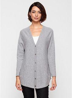 EF light grey cashmere shirt tail hem boyfriend cardi try S