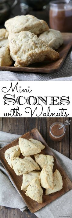 Homemade Mini Scones with Walnuts, an easy snack, or breakfast recipe! SnappyGourmet.com