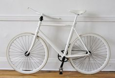 ThinBike by LifeEdited. Cool fold up/quick release system for storage. LOVE the all white, but it looks a little too Ghost Bike sad/eerie/ominous.