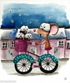 Original Watercolor Folk Art Whimsy Illustration Mouse Crow Bike Starry Village | eBay