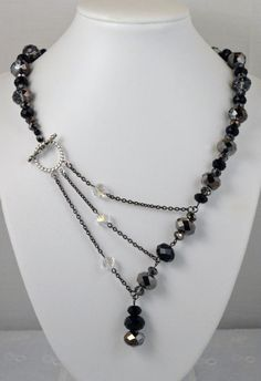 Black, White and Silver Crystal Adrienne Adelle Signature Necklace