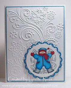 Card using Darice Snowflake embossing folder with Stamped die cut image.