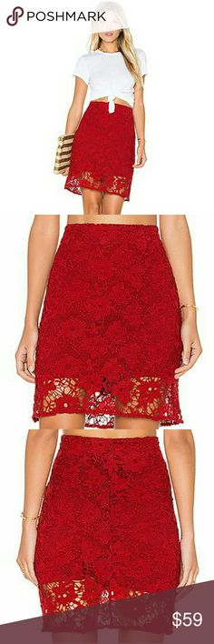 "NWT Sanctuary Women's Red Hand Crafted Lace Skirt New with tags, never used. Women's size XS. Color Boheme Red. MSRP $119. Sold out from most stores.  Above the knee skirt boasts an embroidered floral lace in a rich brick-red hue. Zip closure with hook-and-loop closure. Straight hemline. Lined. Shell: 100% polyester; Lining: 97% viscose, 3% spandex. Machine wash cold. 14"" waist, 19"" long laying flat.  Remember to bundle up and save, so check my closet for more treasure finds. Sanctuary…"