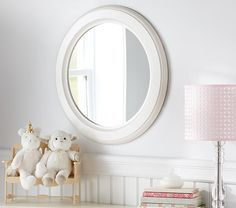 """White Wood Round Mirror 