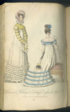 White gown with blue trimmings 1815 Ladies monthly museum