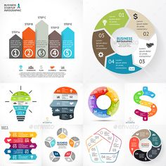 5 Steps Infographics. Vol.1  — PSD Template #linear #puzzle • Download ➝…