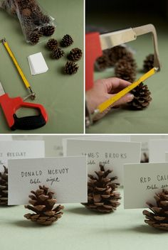 diy wedding ideas pinecone seating card holders 17 Ways To Achieve The Perfect Cheap Ass Fall Wedding fall wedding inspiration / october 2018 wedding / wedding ideas fall autumn / wedding ideas autumn / fall wedding ideas colors Seating Cards, Pine Cone Crafts, Festa Party, Noel Christmas, Winter Christmas, Christmas Sayings, Christmas Labels, Christmas Fashion, Outdoor Christmas