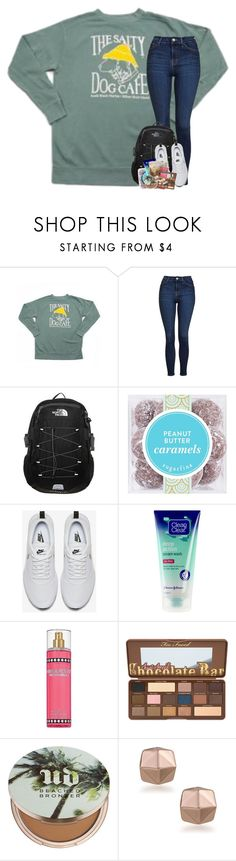 """""""you look like a movie, you sound like a song, my god this reminds me, of when we were young"""" by theblonde07 ❤ liked on Polyvore featuring Topshop, The North Face, NIKE, Nicki Minaj, Urban Decay and Trina Turk"""
