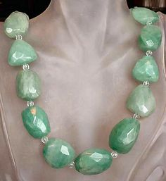 Green Necklace  Green Aventurine Nuggets and Spacers by camexinc, $43.00